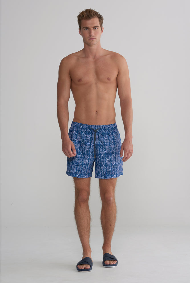 Swim Short - Navy Diamond Print