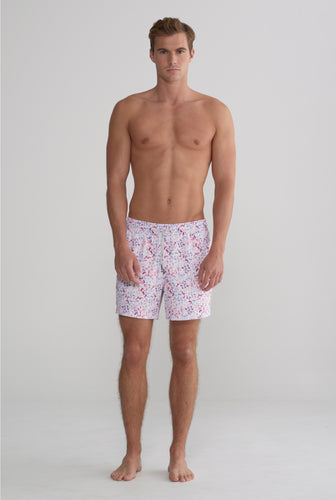 Swim Short - Red Multi Stretch