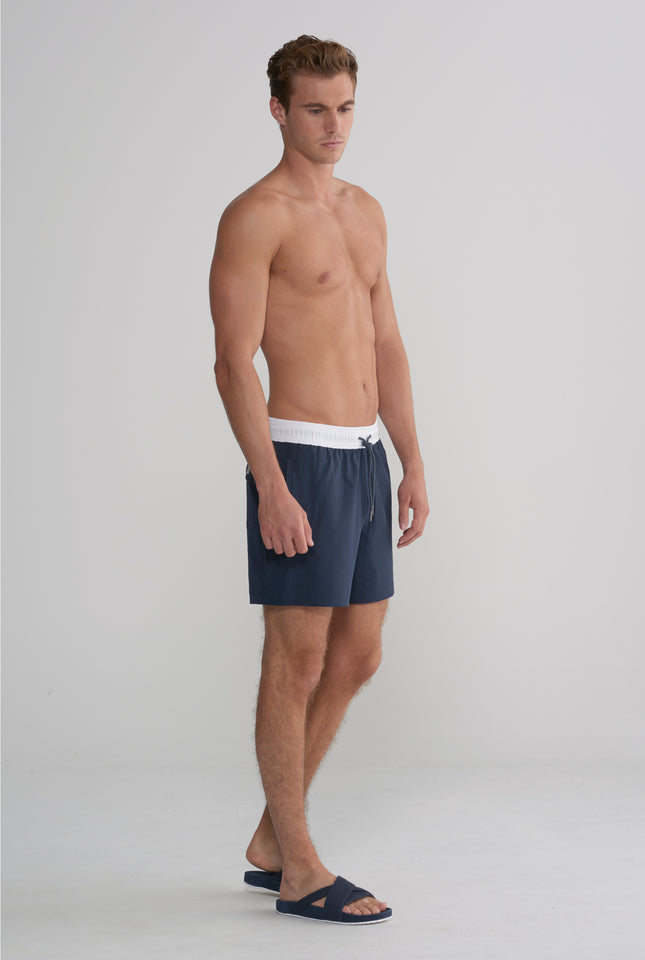 Swim Short - Navy/White Band Stretch