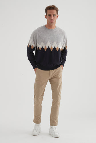 Cashmere Drop Shoulder Sweater - Multi Argyle