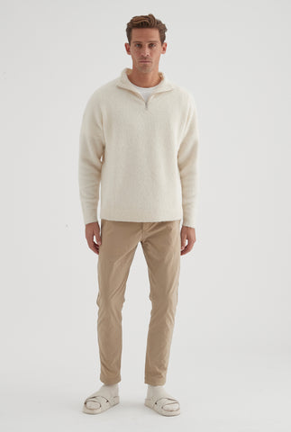 Alpaca Zip Neck Sweater - Off White