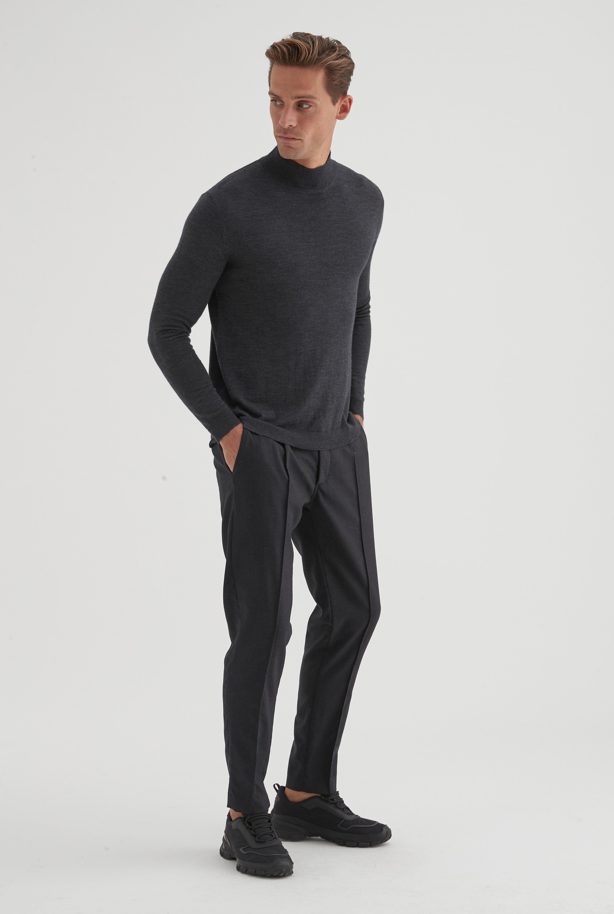 Merino Wool High Neck Knit - Dark Charcoal
