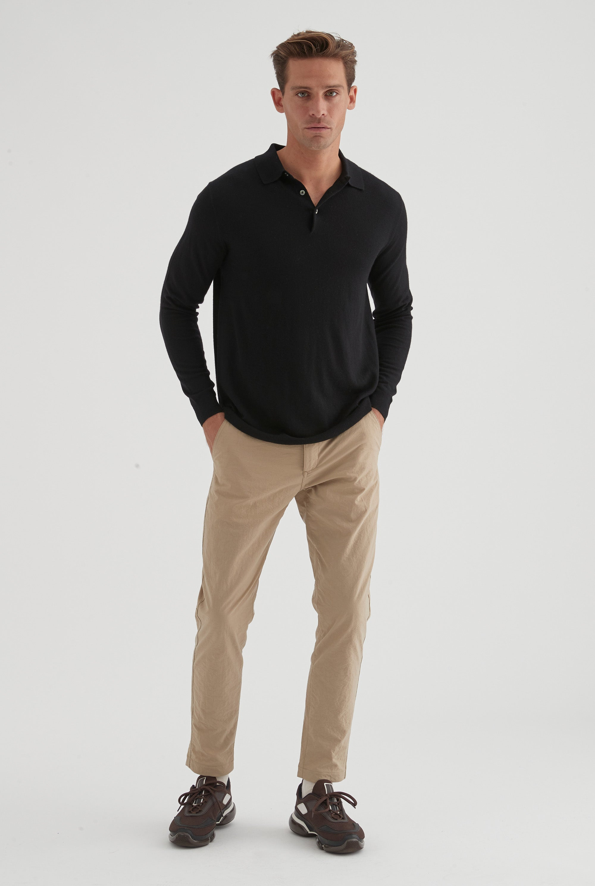 Long Sleeve Cashmere Polo - Black