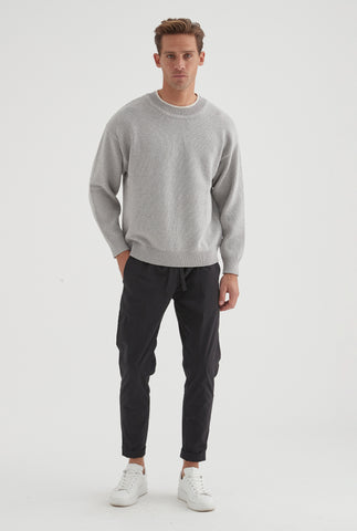 Drop Shoulder Sweater - Grey Marl