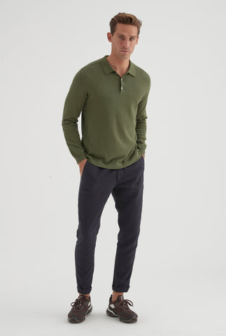 Long Sleeve Knitted Cotton Polo - Dark Green
