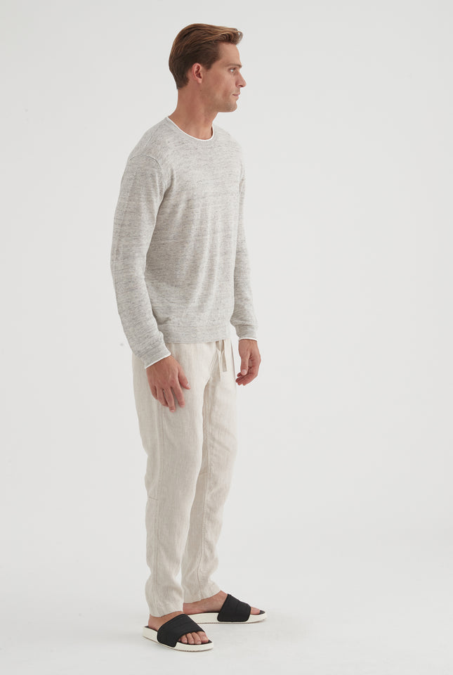 Roll Edge Long Sleeve T-shirt - Grey Marl/White Tipping