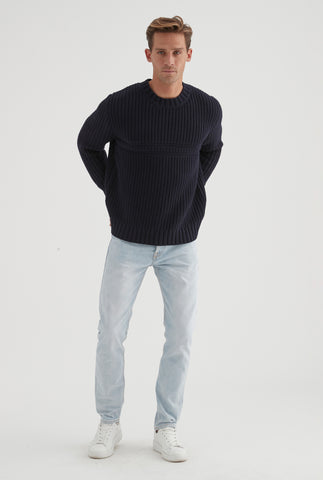 Fancy Knit Sweater - Dark Navy