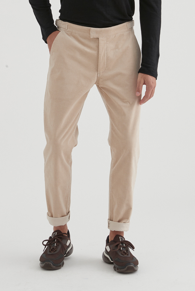 Cord Side Tab Trouser - Oat