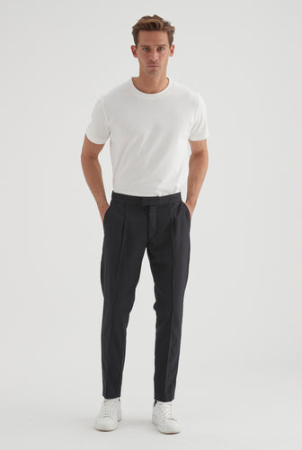 Worsted Wool Trouser - Dark Charcoal