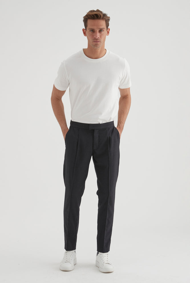 Worsted Wool Trouser - Navy