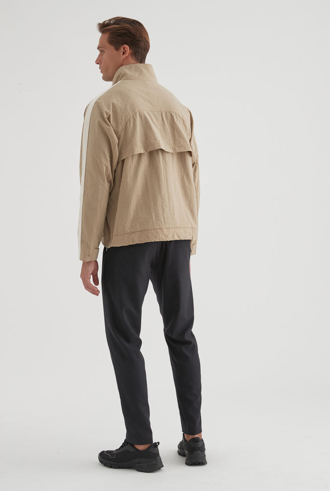 Nylon Pull Over Jacket - Taupe