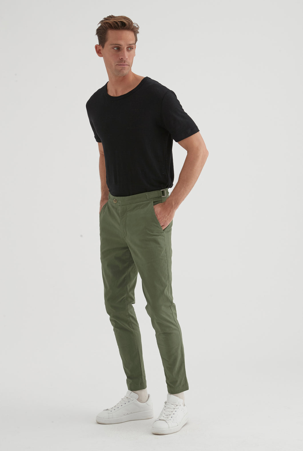 Cotton Stretch Side Tab Trouser - Dark Green
