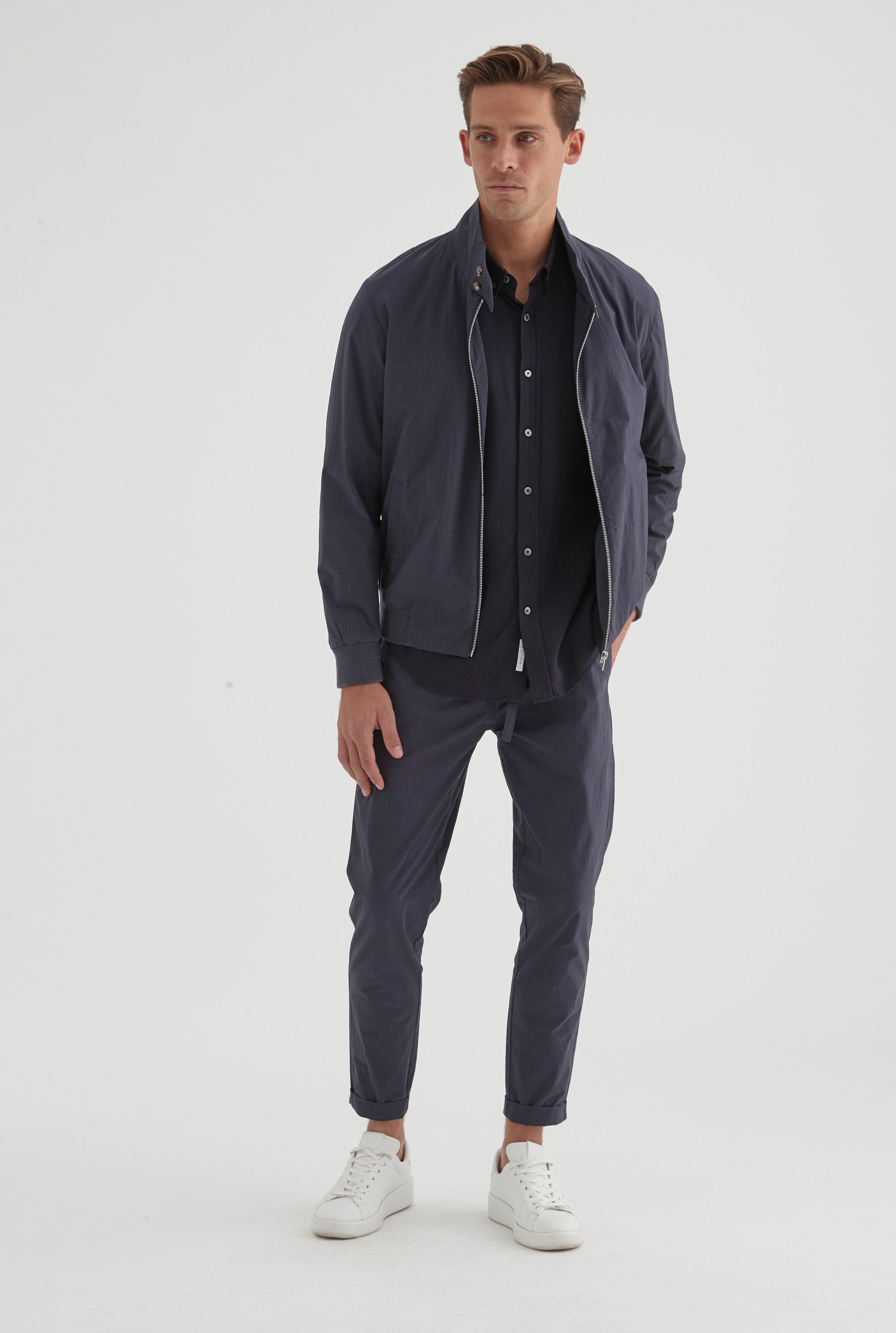 Cotton Stretch Sports Jacket - Navy