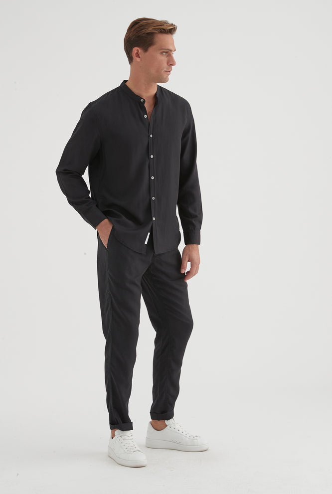 Grandad Winter Shirt - Black