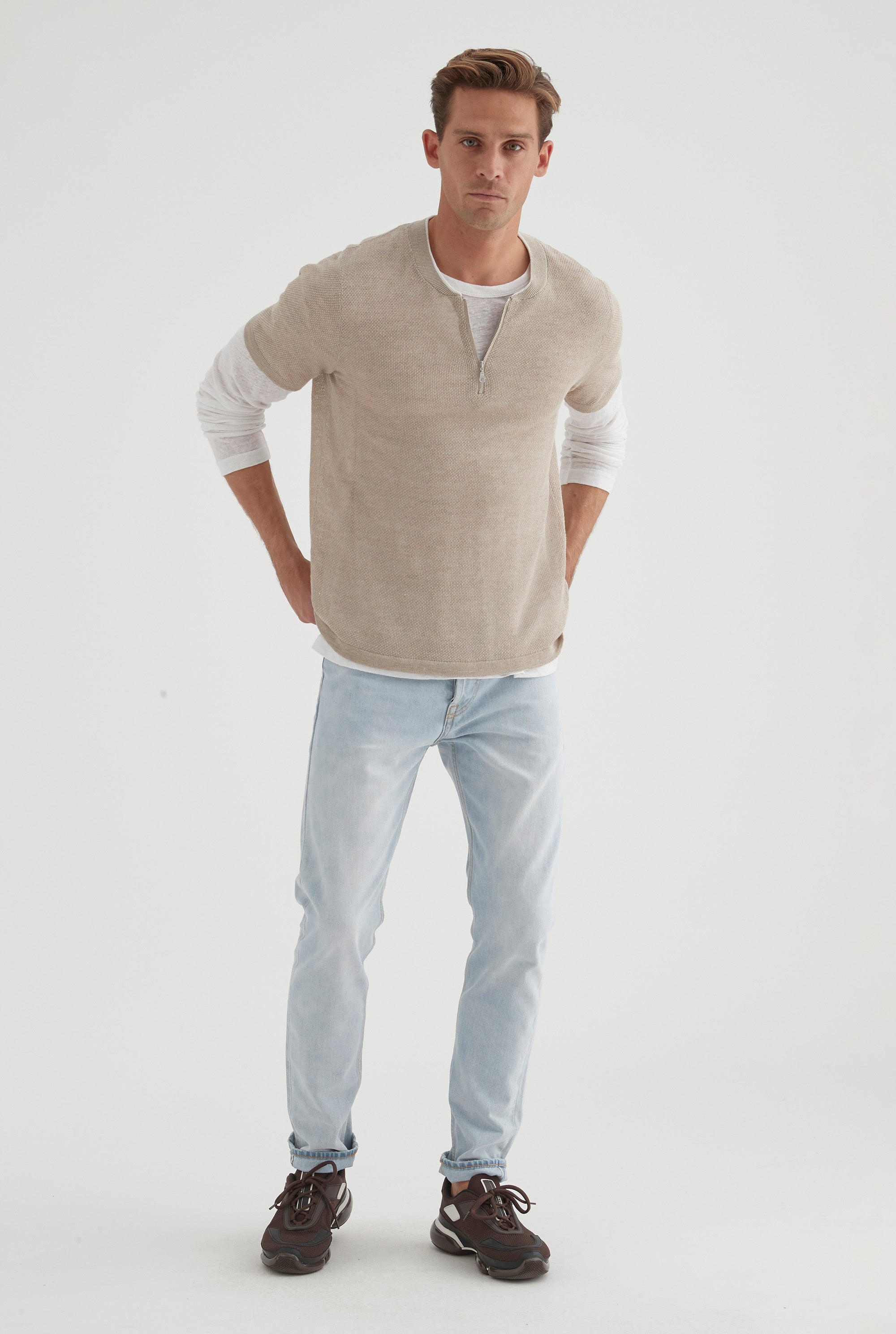 Knitted Zip Collar T-Shirt - Taupe/White Tip