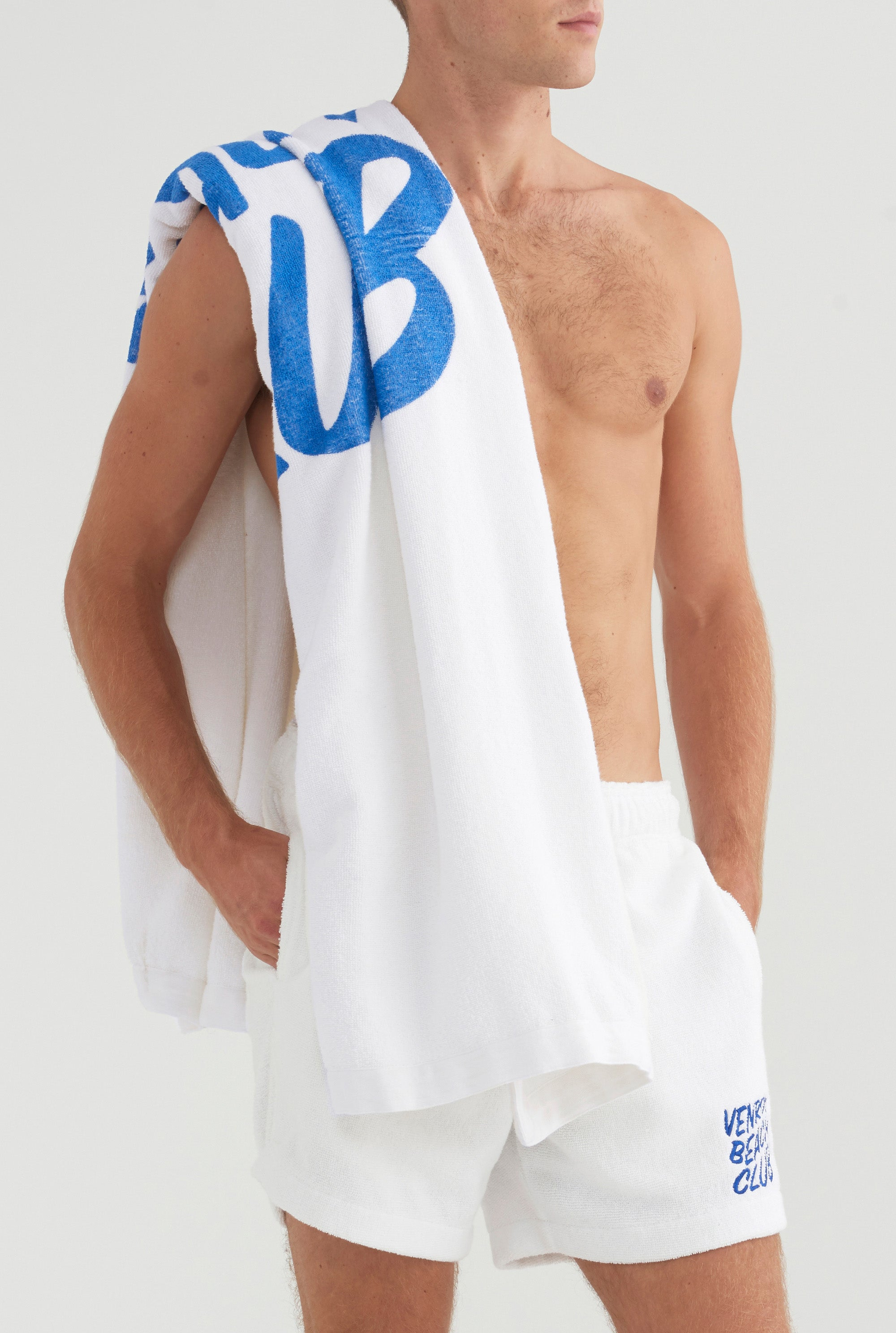 Beach Club Towel - White/Cobalt Blue