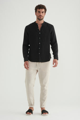 Grandad Collar Shirt - Black