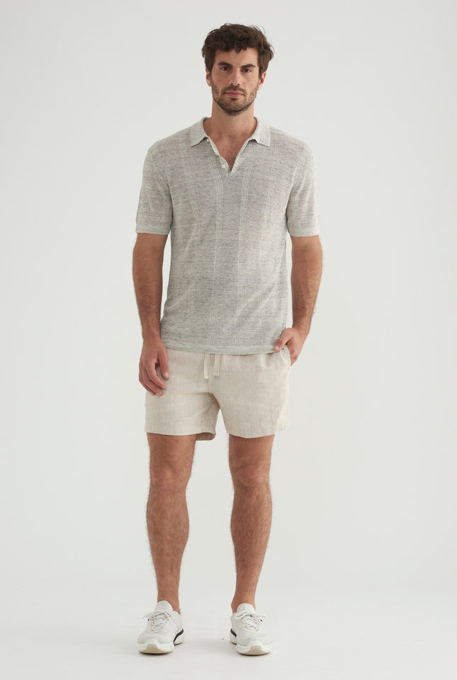 Pique Knitted Stripe Polo - Grey Marl