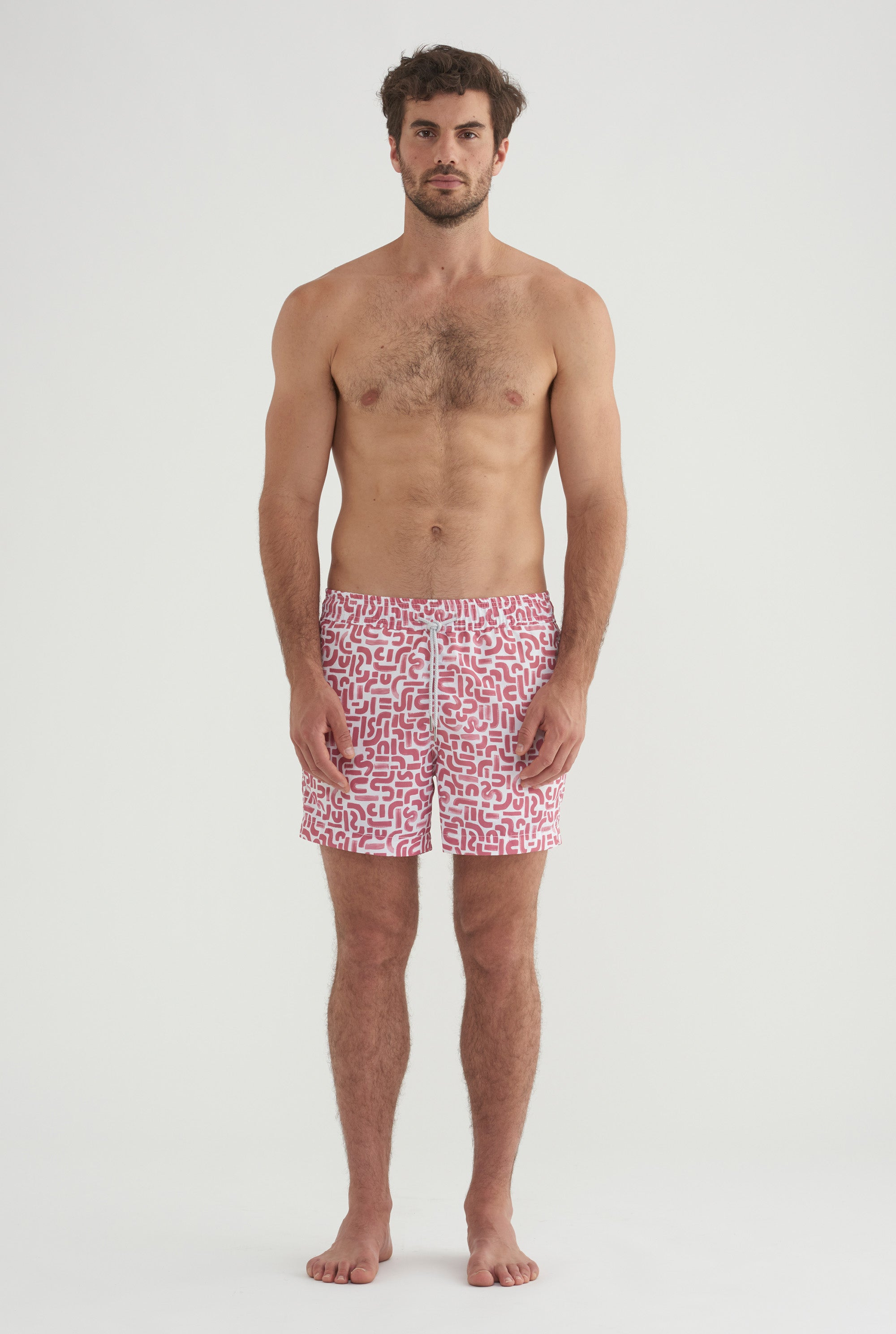 Nylon Swim Short - Burgundy Brush Print