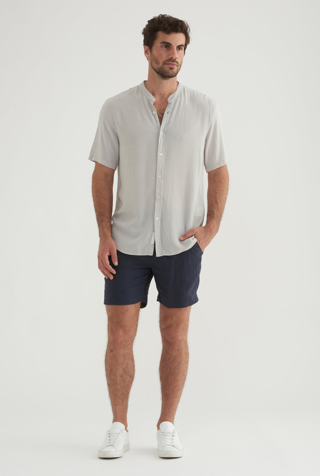 Short Sleeve Tencel Shirt - Light Grey