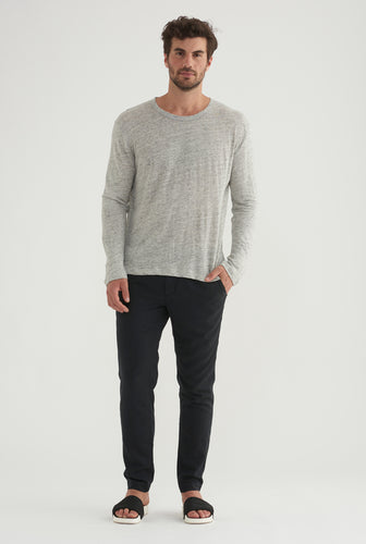 Long Sleeve Linen T-shirt - Grey Marl