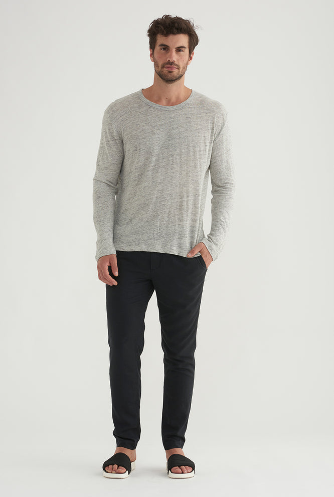 Superfine Linen Long Sleeve T-Shirt - White