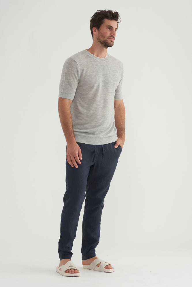 Knitted Cashmere T-Shirt - Grey Marl/White Tip