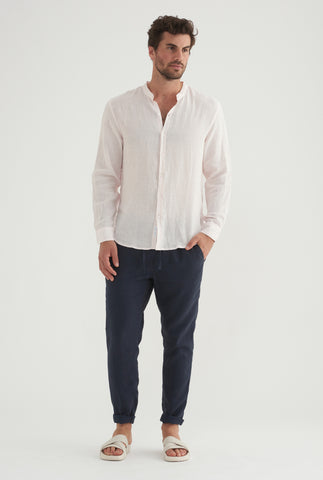 Grandad Collar Shirt - Light Pink