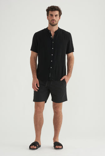Short Sleeve Tencel Shirt - Black