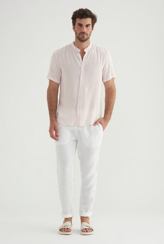 Short Sleeve Tencel Shirt - Light Pink