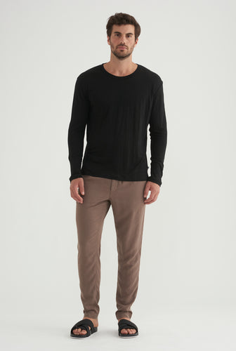 Long Sleeve Linen T-shirt - Black