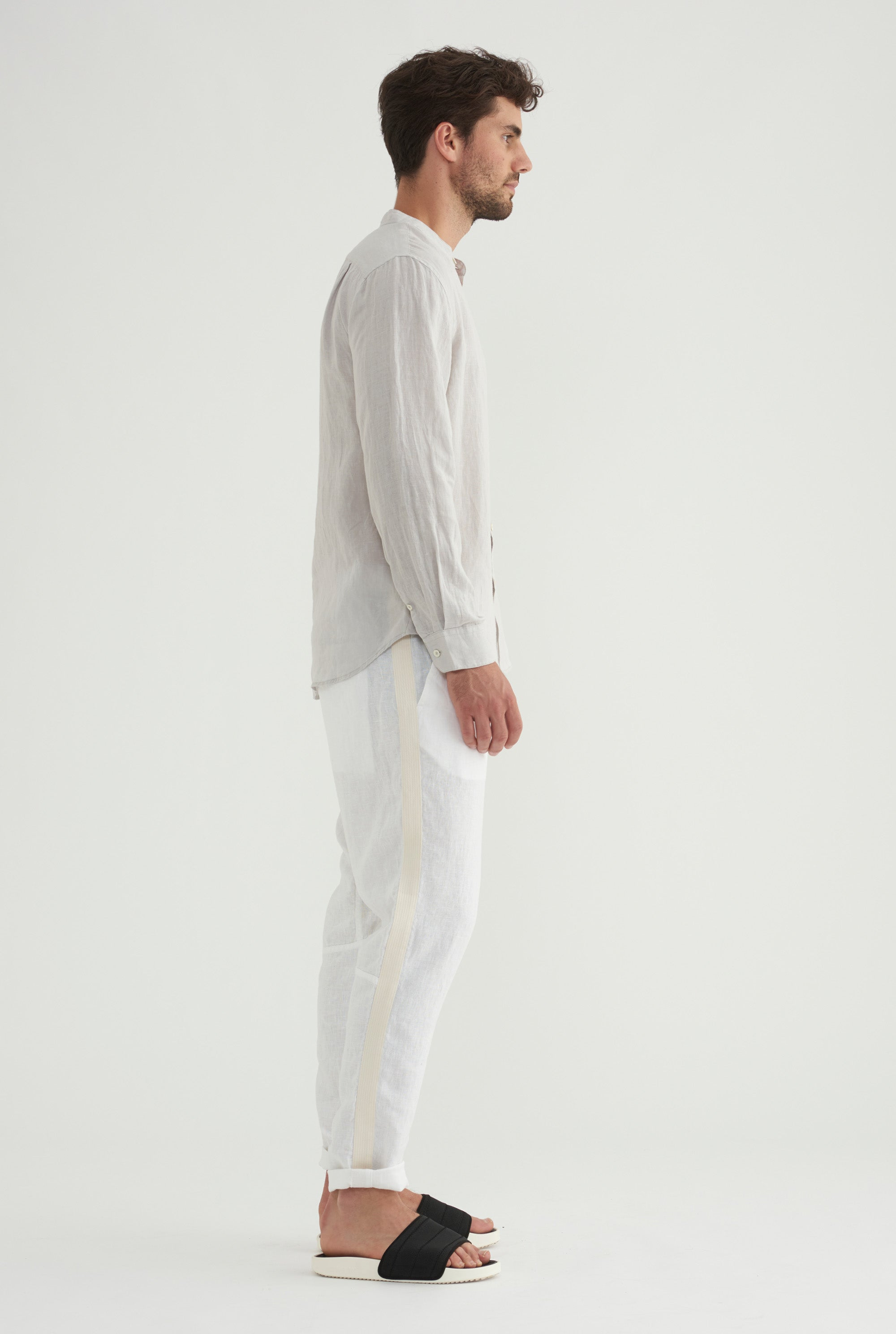 Grandad Collar Shirt - Light Grey