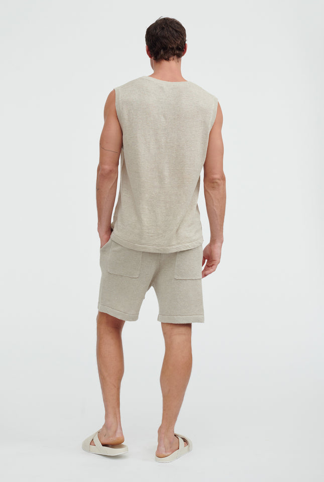 Mens Knitted Tank - Taupe