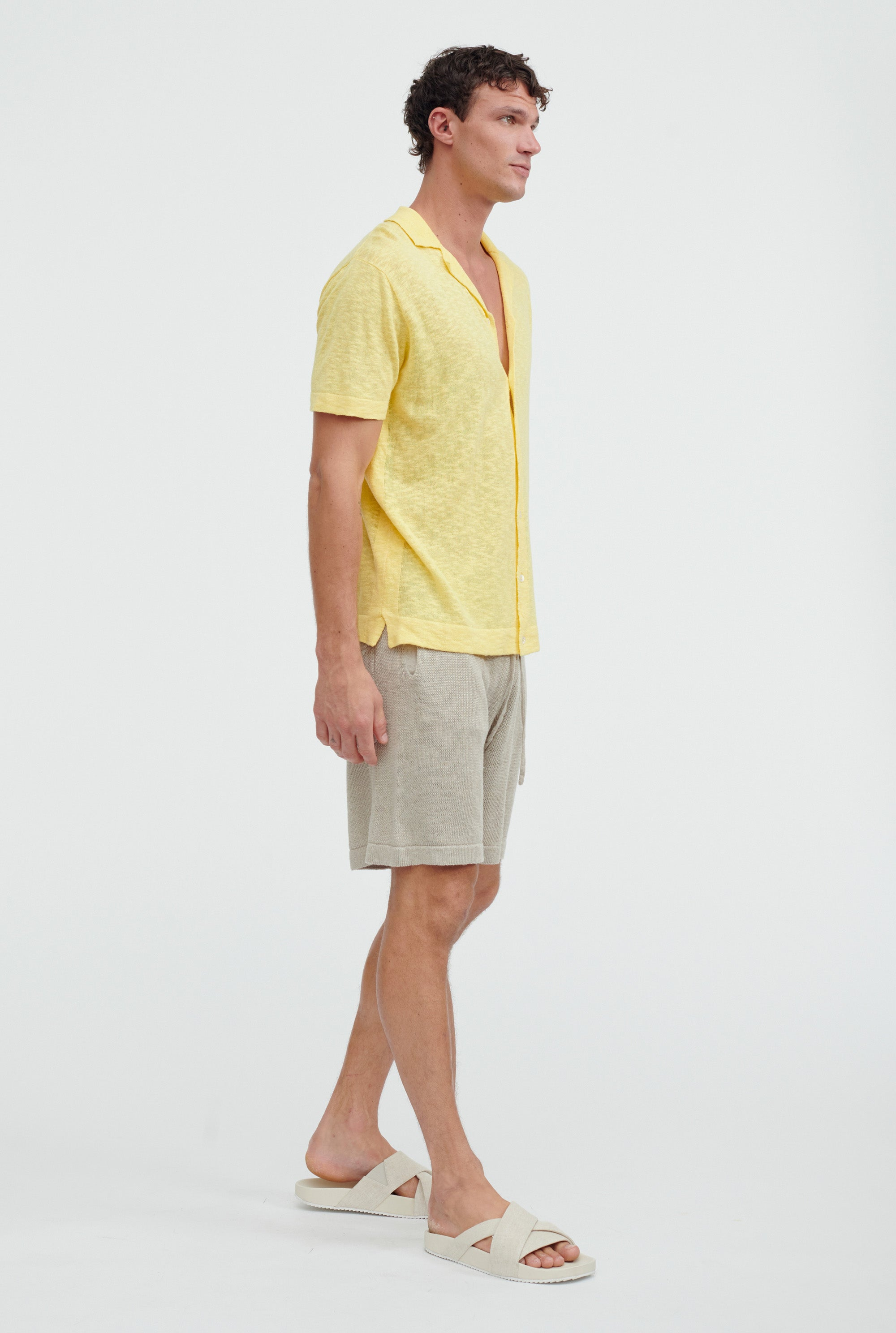 Short Sleeve Knitted Camp Collar Shirt - Lemon