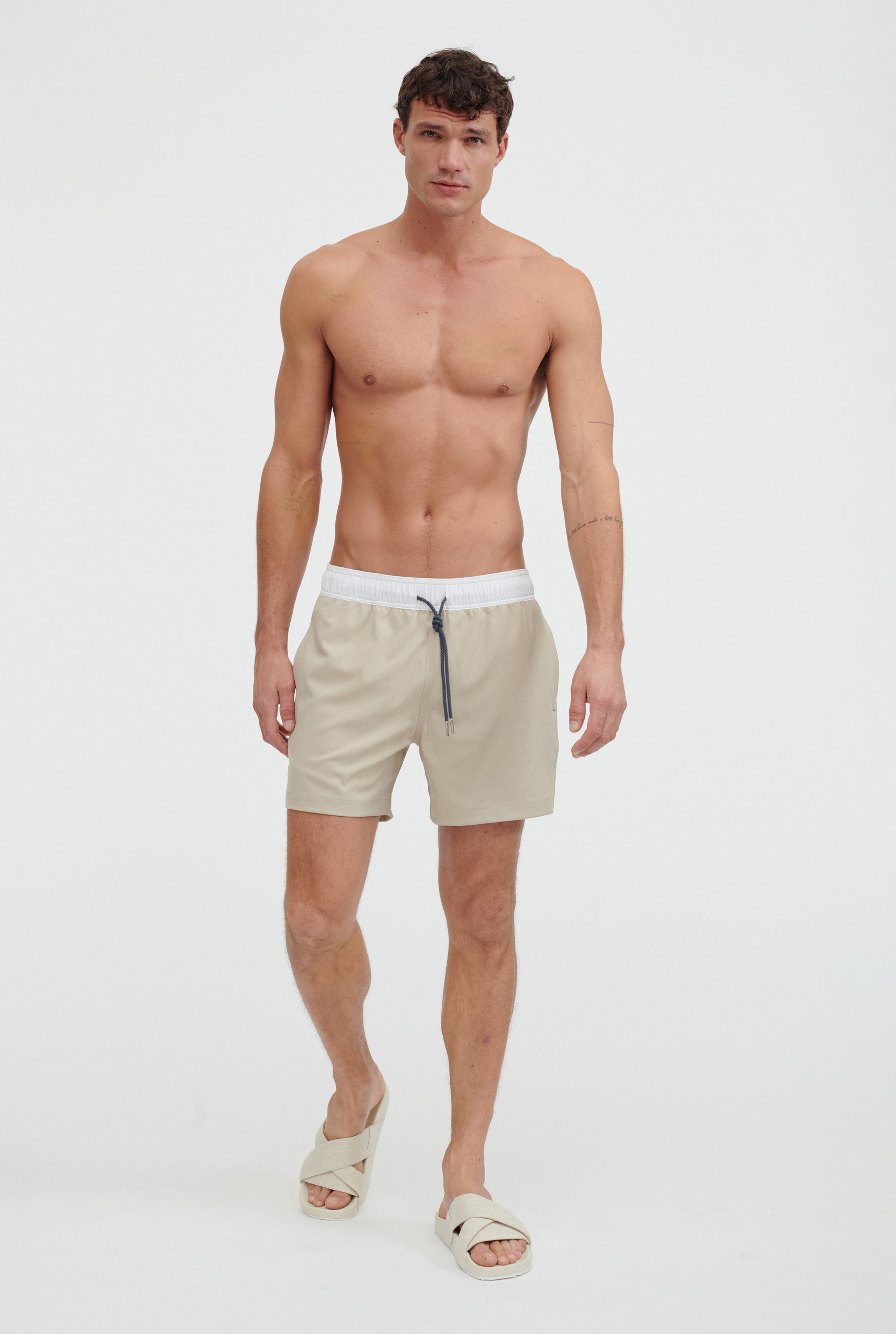 Solid Stretch Swim Short - Taupe/White Band