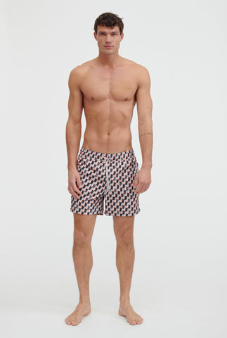 Printed Swim Short - Melon Geo Print