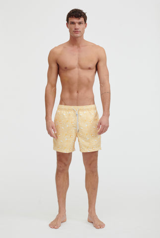 Printed Swim Short - Lemon Wave Print