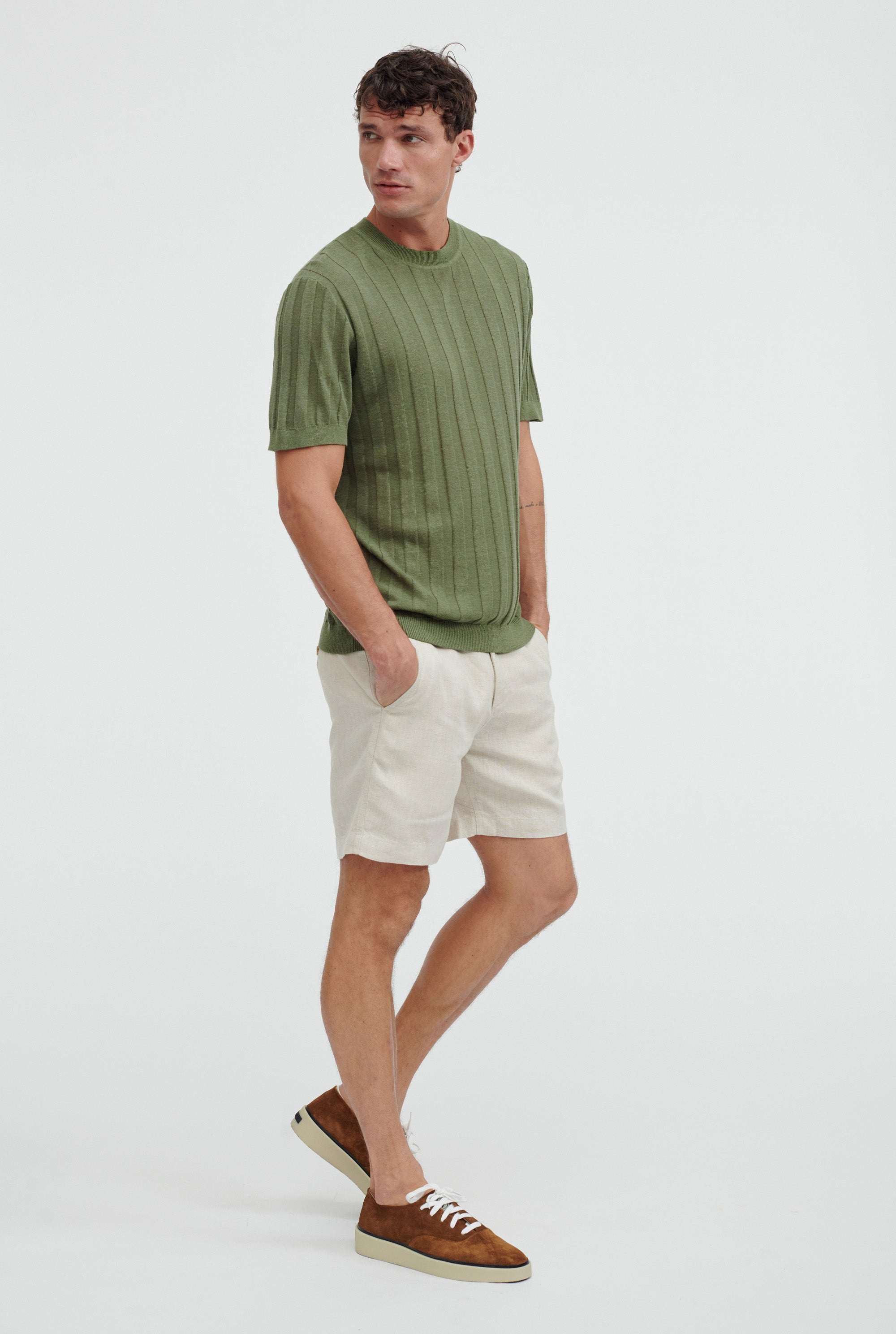 Short Sleeve Knitted Rib Stripe T-Shirt - Signature Green