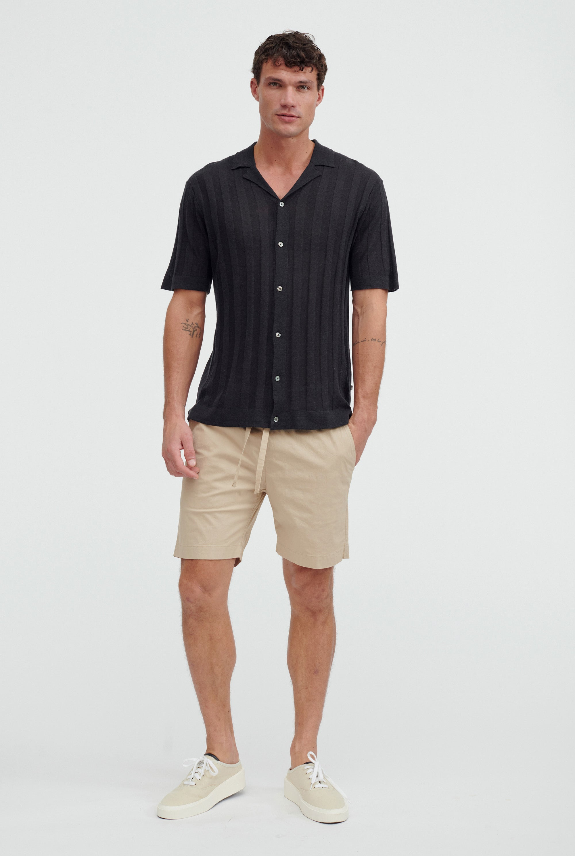 Short Sleeve Knitted Rib Stripe Shirt - Black