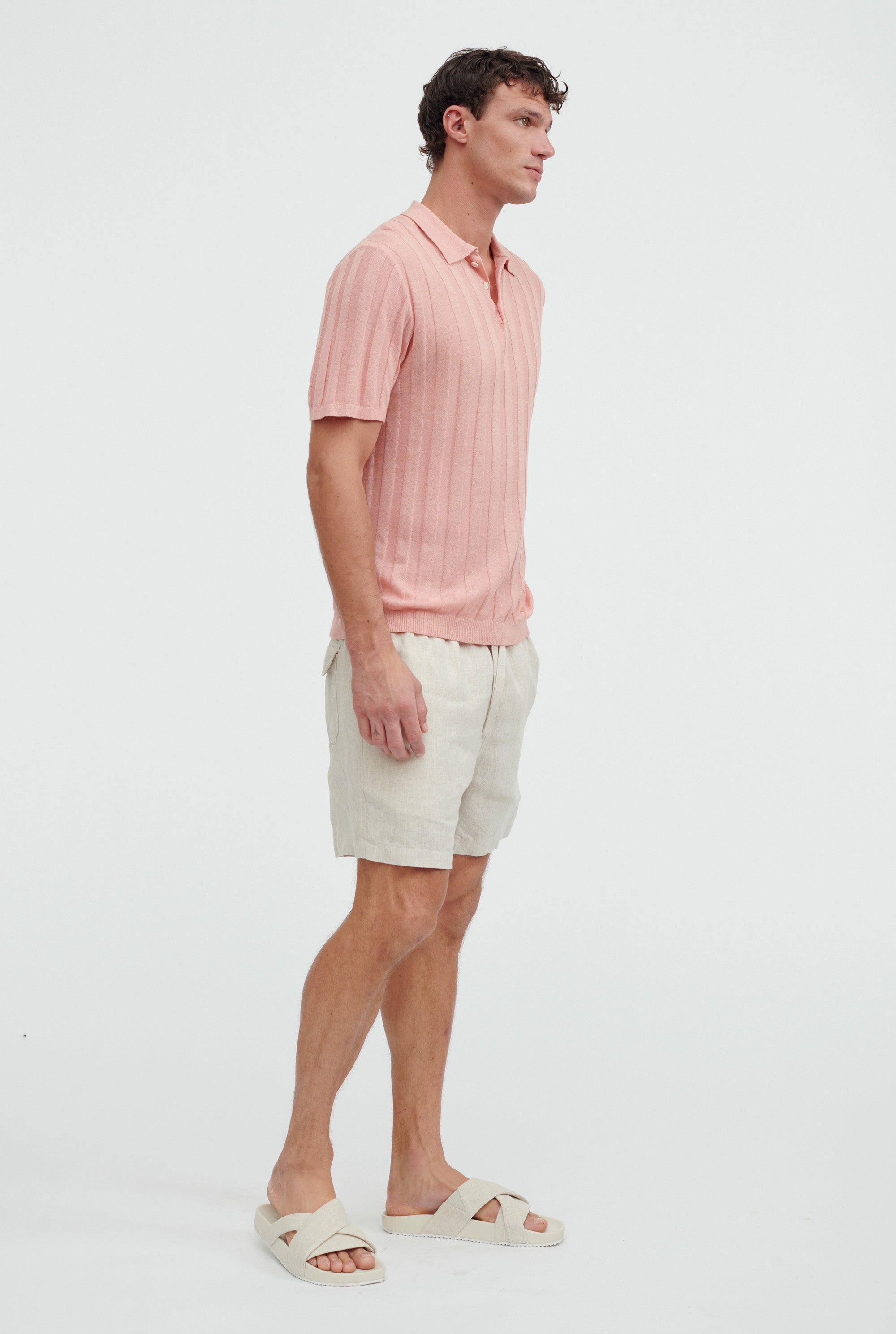 Short Sleeve Knitted Rib Stripe Polo - Melon