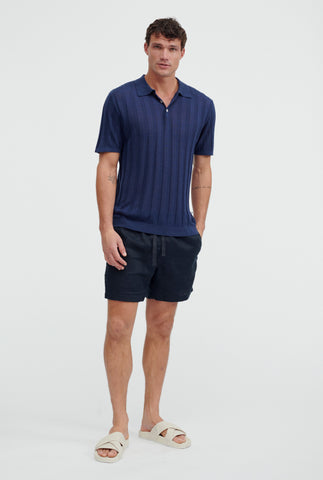 Short Sleeve Knitted Rib Stripe Polo - Navy