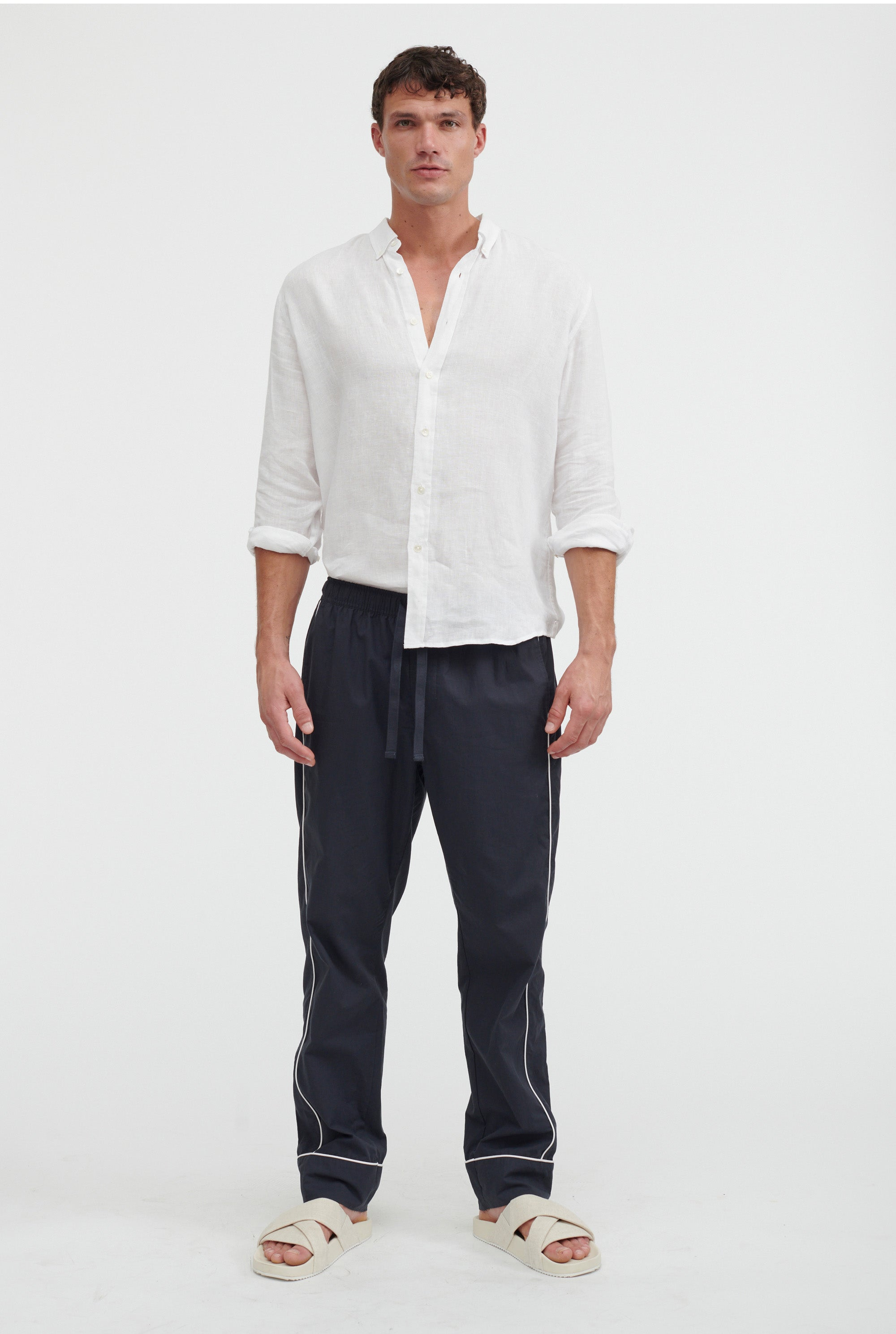 Piped Poplin Pant - Navy/White Piping