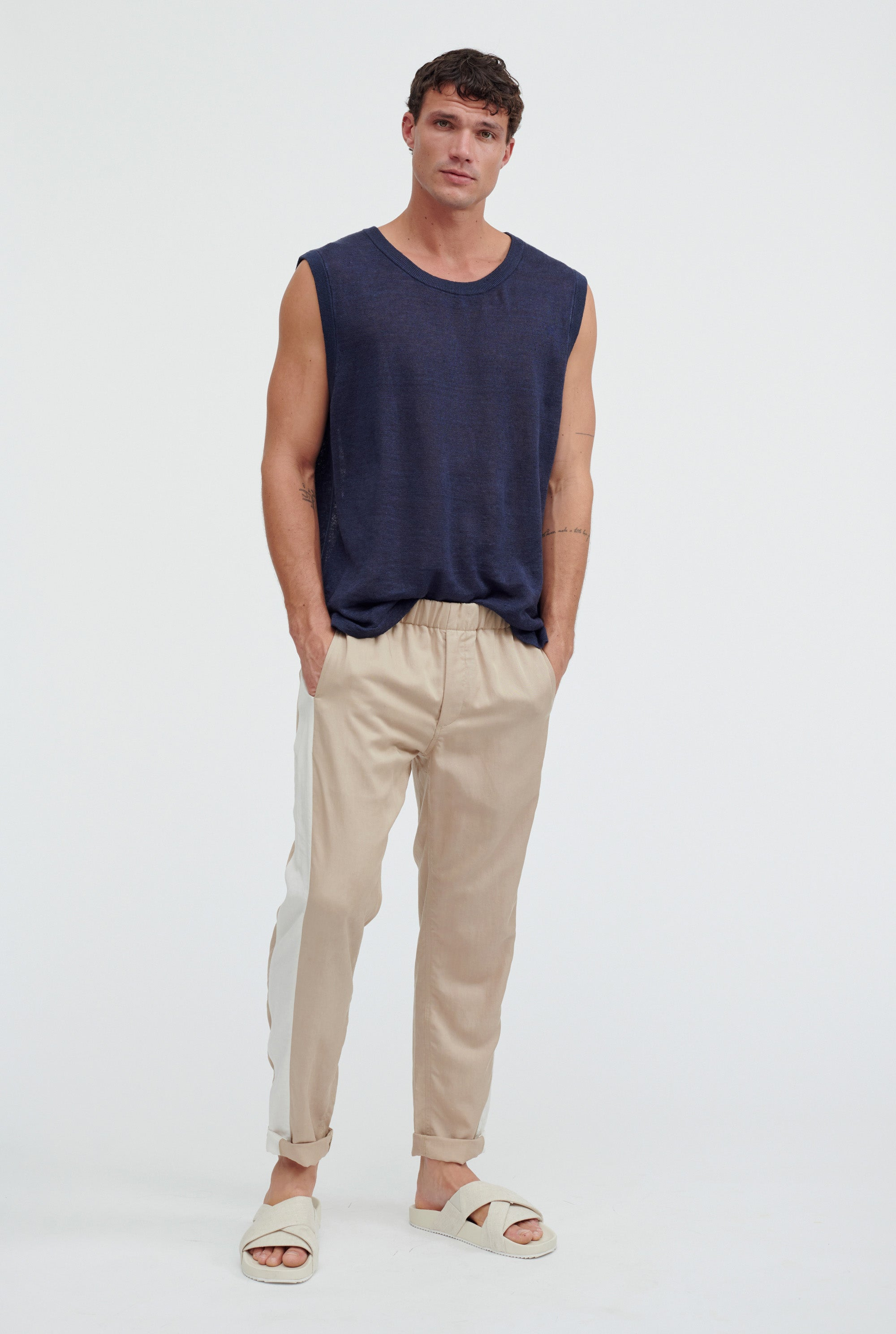 Side Panel Pant - Taupe/Stone Stripe