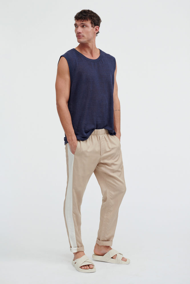 Side Panel Pant - Stone/Navy Stripe