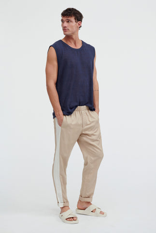 Mens Knitted Tank - Navy
