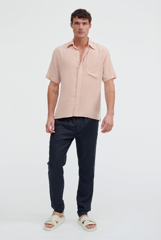 Short Sleeve Side Panel Silk Shirt - Taupe Stone Stripe