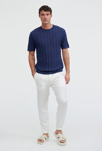 Short Sleeve Knitted Rib Stripe T-Shirt - Navy