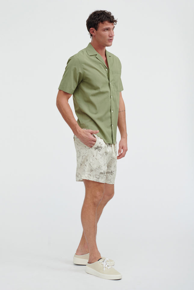 Short Sleeve Voile Camp Collar Shirt - Signature Green