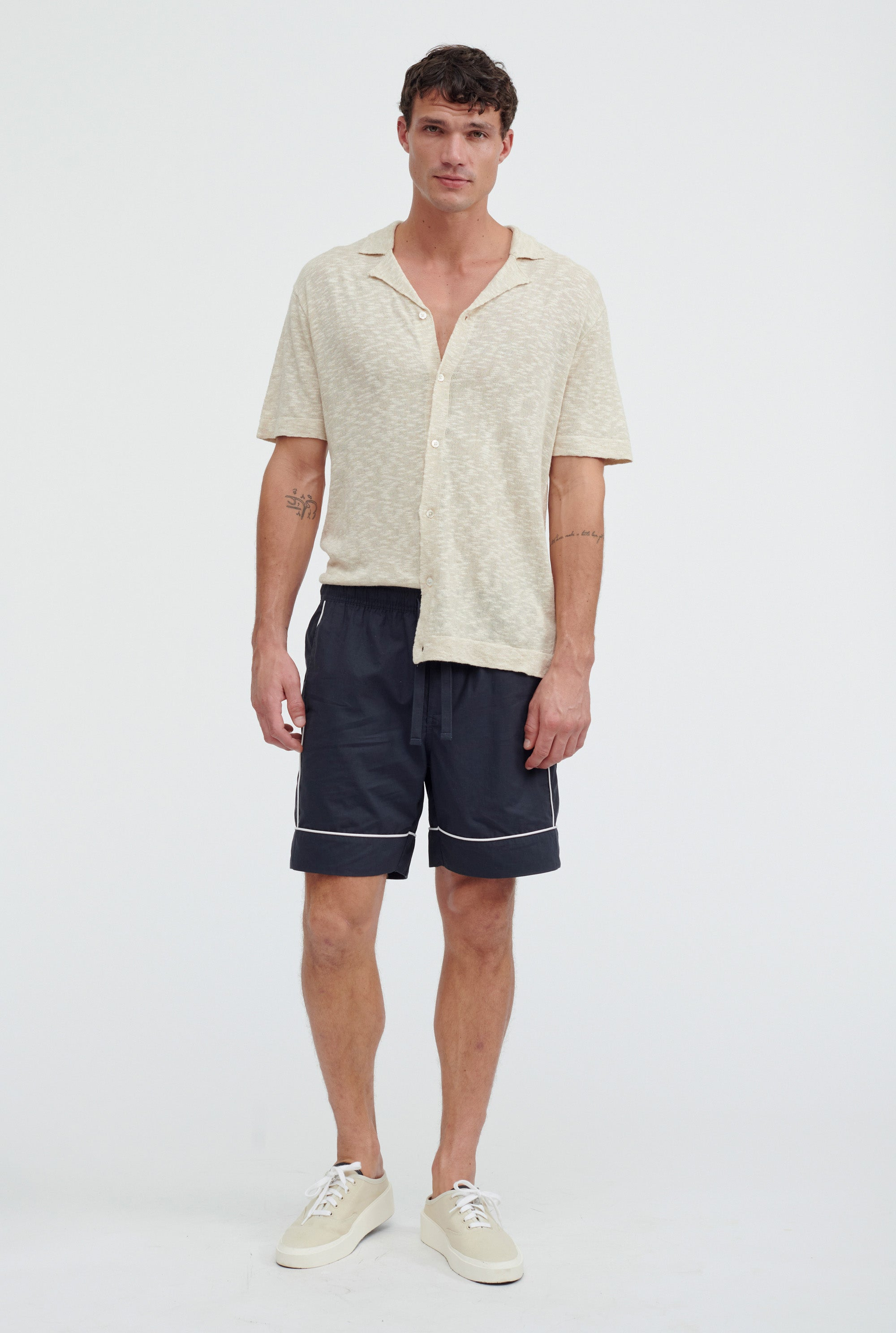 Short Sleeve Knitted Camp Collar Shirt - Oat