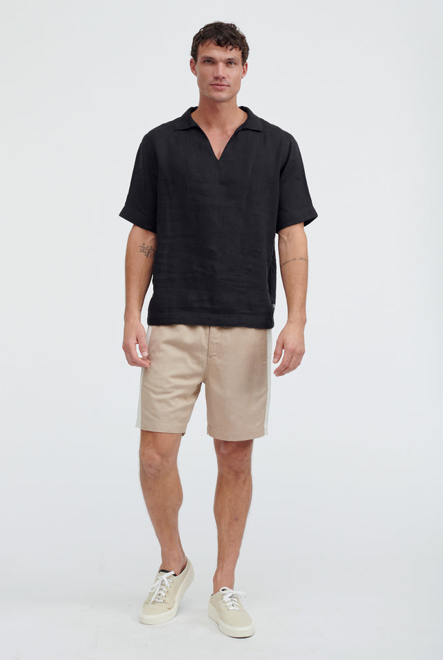 Woven Open Neck Polo - Black